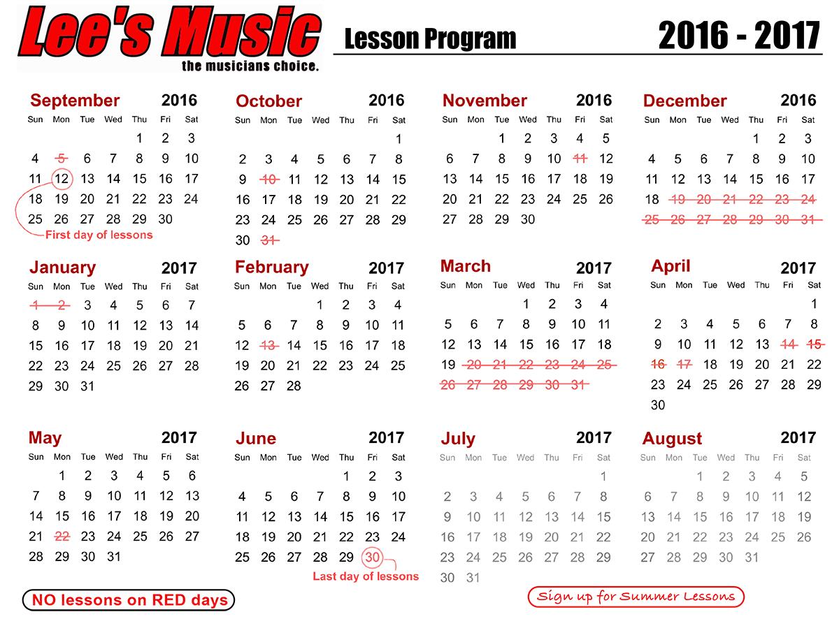 Lees Music Lesson calendar 2016 - 2017