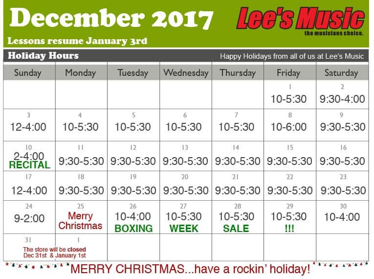 Lees Music December 2017 hours